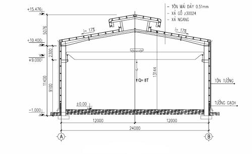 Bản vẽ nhà công nghiệp 1 tầng 1 nhịp